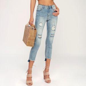 NWT Blue uneven Raw Hem Distressed Jeans